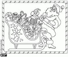 kolorowanka Sanki, prezenty i szczęśliwy Santa Claus