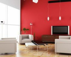 red wall as accent in grey room | red walls with woood trim and a