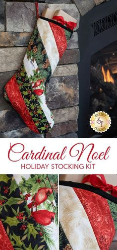 Add a traditional feel to your hearth with this gorgeous stocking kit in Cardinal Noel fabrics! Using the June Tailor quilt-as-you-go batting, this beautiful stocking comes together quickly and easily. Add multiple kits to create a unique stocking for each family member this year!