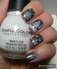 Winter scenery nail art feat. @bornprettystore #holo and BP-01 stamping plate #nailart #nailstamping