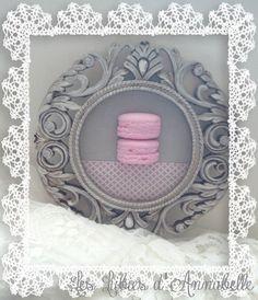 Décoration Cadre Style shabby macarons plâtre roses