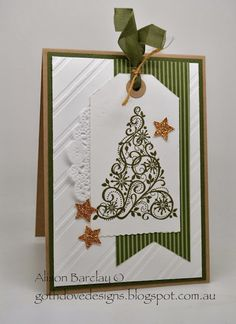 """Gorgeous Christmas Tree """"Tag"""" Card...with doily & glittery stars...Alison Barclay Stampin' Up! ® Australia: Gothdove Designs."""