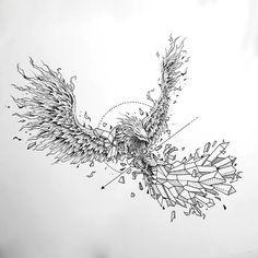 Geometric Phoenix Tattoo Design