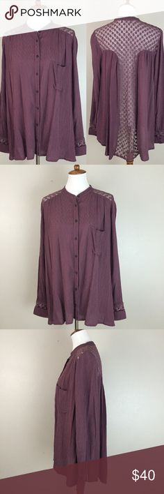 """Free People Festival Crochet Back Blouse L Free People  100% Rayon, long sleeve, crochet cutout detail. Mauve purple color  Size L  Measures approximately 23.5"""" from underarm to underarm and 30.5"""" from shoulder to bottom hem.  Gently pre-owned and ready to wear. Free People Tops Blouses"""