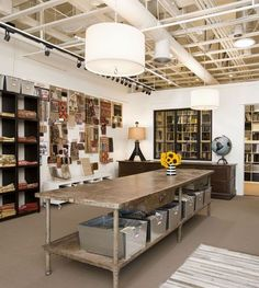Wow - that large stainless steel table would make an awesome cutting space for fabrics! #sewing #room #organization