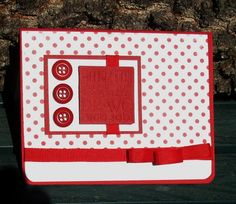 Fabulous Red and white Job Well Done Card Handmade | LilBitOLove - Cards on ArtFire