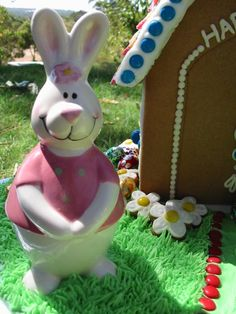 Easter School Raffle Gingerbread House (2012)...The Big House # 1 Bunnies are ceramic egg cups.