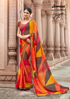 Shop this Multicolour with Unstitched Blouse by . Laxmipati Sarees, Georgette Sarees, Saris, Indian Dresses, Indian Outfits, Indian Clothes, Designer Blouse Patterns, Design Patterns, Casual Saree