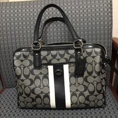 "Black Coach purse DEAL ... But any 3-Coach items I have for sale and get 25% off your order! Just bundle let me know you are ready to purchase so I can add the discount!!! Like new Black Coach purse! No sign of wear at all!! It is 12"" long,  9"" high and 4 1/2"" deep. Selling or I do trade for item(s) of equal value, just ask  Coach Bags Shoulder Bags"