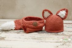 Crochet Baby Fox Hat Set