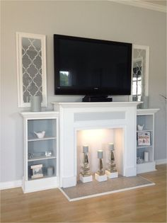 4 Persevering Clever Tips: Tv Over Fireplace Decorations fireplace makeover shelves.Fireplace Decorations Ideas tv over fireplace decorations. Decor, Home Living Room, Home Projects, Fake Fireplace Mantel, Fireplace Surrounds, Fireplace Design, Home Decor, First Home, Fireplace Tv Stand