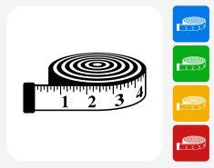 Measurement Tape Icon Flat Graphic Design vector art illustration