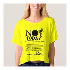 NOT TODAY Slogan Statement Tee ($26) ❤ liked on Polyvore featuring tops, t-shirts, t shirt, slogan t shirts, tee-shirt, yellow shirt and yellow t shirt