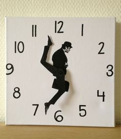 "The Monty Python Ministry of Silly Walks clock is created from cm canvas. John Cleese's character from the classic Monty Python sketch ""The Ministry of Monty Python, Do It Yourself Furniture, Diy Clock, Clock Ideas, Clock Craft, Clock Decor, Make A Clock, Clock Work, Take My Money"