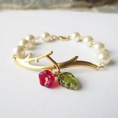 Gold Twig Bracelet - Charm Bracelet,  Friendship Bracelet, Bangle, Bridesmaid, Wedding Bracelet, Brass