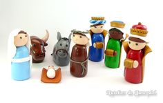 Nativity set made from polymer clay