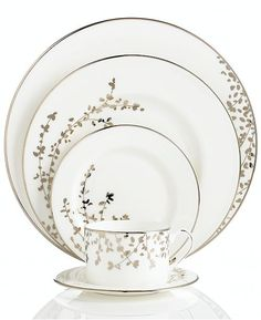 kate spade new york Dinnerware, Gardner Street Platinum 5 Piece Place Setting - Fine China - Dining & Entertaining - Macy's Bridal and Weddi. Kate Spade New York, Vase Deco, Fine China Dinnerware, Ikea Dinnerware, China Sets, Dish Sets, Dinner Sets, Dinner Ware, Deco Table