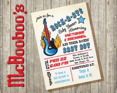 Rock a bye rockstar baby shower Invitations with by McBooboos, $13.00