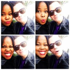 msamberpriley Chris Colfer wasn't aware that we were making faces until the last photo (hence the  face) hahahaha