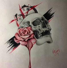 PEN.UP | A place to inspire and get inspired Sick Tattoo, Poke Tattoo, Skull Tattoos, Sleeve Tattoos, Trash Polka Tattoo, Hand Poked Tattoo, Japanese Sleeve, Tatting, Drawings