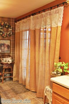 Creative Country Mom's: Sewing Burlap and Lace Curtains