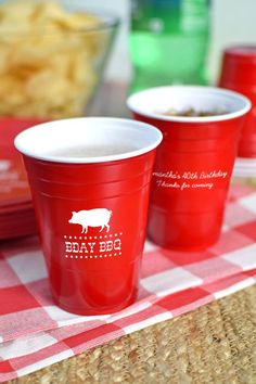 Planning a backyard BBQ?  Nothing goes together better than Solo cups, gingham, and an outdoor barbeque.  Perfect for an outdoor birthday party, BBQ, or backyard bash. Serve beer and soda with custom printed solo cups personalized with a fun adult party design and your own custom text. To order, visit http://www.tippytoad.com/16oz-personalized-adult-birthday-solo-cups.asp
