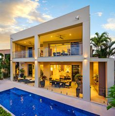 Modern House Design next to rectangle pool