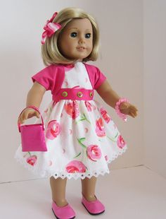 American Girl Doll Dress of Spring Flowers by SewSpecialByBarb, $45.00