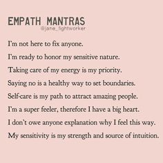 Take what you need ❤️ Which mantra resonates with you today? Join Empath Healing Online Workshop to learn how to become an empowered… Empath Abilities, Psychic Abilities, Intuitive Empath, Empath Traits, Stress, Positive Affirmations, Healing Affirmations, Quotes Positive, Spiritual Awakening