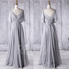 2016 V Neck Bridesmaid Dress with Sequin, Ruched Chiffon Bodycon Wedding Dress, Ruffle Sleeves Prom Dress, A Line Maxi Dress Floor (J019A) by RenzRags on Etsy https://www.etsy.com/listing/463278646/2016-v-neck-bridesmaid-dress-with-sequin