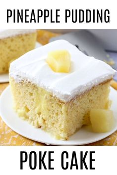 Easy Pineapple Pudding Poke Cake recipe is made with a boxed cake mix, pine. - cake recipes -This Easy Pineapple Pudding Poke Cake recipe is made with a boxed cake mix, pine. Poke Cake Recipes, Poke Cakes, Cupcake Cakes, Dump Cakes, Pudding Poke Cake, Pineapple Pudding, Pineapple Slices, Pineapple Poke Cake, Pineapple Dessert Recipes