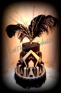 themed Art Deco Gatsby meets flapper cake design by Julie Head. Great Gatsby Party, Great Gatsby Motto, Gatsby Themed Party, 1920s Party, 1920s Wedding, Dream Wedding, Gold Wedding, Wedding Ideas, 1920s Cake