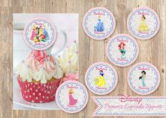 Disney Princess Cupcake Toppers, Printable Birthday Party Circle Disney's Cinderella, Snow White, Ariel, Sleeping Beauty, Bell. INSTANT! on Etsy, $3.98