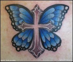 I'm against tattoos but this is awesome!  Cross with butterfly wings