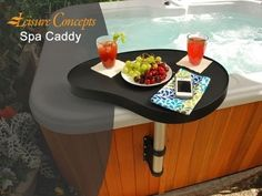 Spa Caddy Hot Tub Side Table is great addition to any hot tub spa! Hot Tub Deck, Hot Tub Backyard, Backyard Shade, Backyard For Kids, Backyard Ideas, Hot Tub Accessories, Backyard Fireplace, Deck Decorating, Best Bath