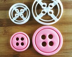 Each cutter has 4 cut through holes with 1 inner embossing ring  3D printed cutter suitable for fondant, cookie dough, cheese, craft clay, sugarpaste,