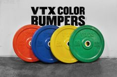 VTX Color Bumper Plates: Set includes a pair each of 10, 15, 25, 35, and four 45lb single bumpers