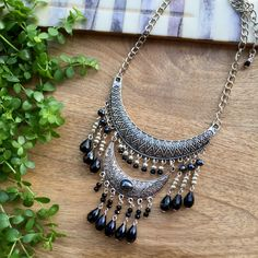 Stunning Black & Silver short necklace, Sparkling necklace, boho style, bohemian jewelry, party necklace, festival necklace, tribal style