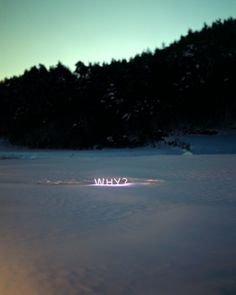 """Lee Jung, """"WHY?"""" 2012. Photographed Neon Text Installation."""