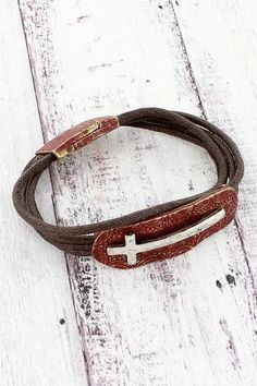 This pretty cross bracelet gives you a rustic chic look for your arm! Religious Jewelry, Rustic Chic, New Fashion, Arms, Fashion Jewelry, Coral, Christian, Personalized Items, Bracelets