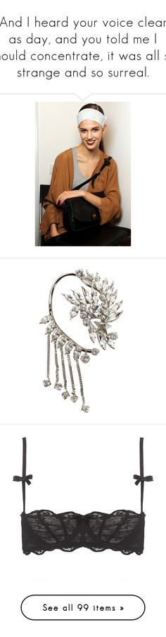 """And I heard your voice clear as day, and you told me I should concentrate, it was all so strange and so surreal."" by swan-heart ❤ liked on Polyvore featuring jewelry, earrings, accessories, jewels, chain earrings, chains jewelry, ear cuff jewelry, ear cuff earrings, givenchy and intimates"