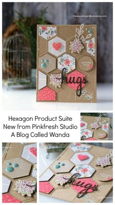 Making Greeting Cards, Greeting Cards Handmade, Hexagon Cards, Heart Border, Studio Cards, Backrounds, Hexagons, Pretty Cards, Paper Cards
