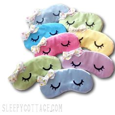 Send your sleepover guests to bed with a smile with a handmade Sleeping Kawaii Eyes Sleep Mask customized for your party. This listing is for a