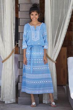 76690a74f3 Lola Embroidered Cotton Dress Powder Blue | Aspiga White Embroidery, Maxi  Dresses, Cotton Dresses
