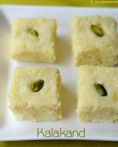 Diwali sweets recipes, Diwali snacks recipes, 100 plus recipes - Raks Kitchen Easy Indian Recipes, Indian Dessert Recipes, Indian Snacks, Sweets Recipes, Simple Indian Sweets Recipe, Eid Recipes, Diwali Snacks, Diwali Food, Kalakand Recipe
