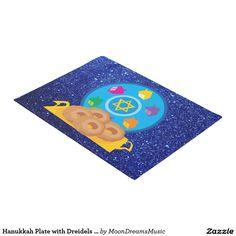 #HanukkahPlate with #Dreidels #BlueFauxGlitter #Doormat by #MoonDreamsMusic