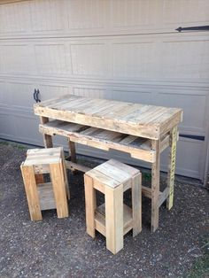 Rustic Pallet Bar #Table with #Stools - 25 Unique DIY Wood Pallet Projects   99 Pallets