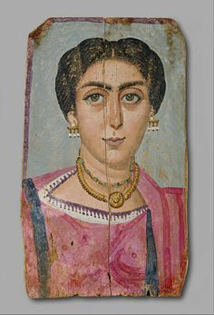 Mummy Portrait: Woman with Necklace. Painting. (161 AD - 192 AD). Encaustic on Wood