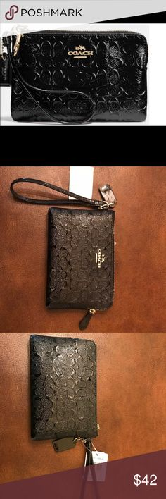 Coach Wristlet Coach Black patent leather signature embossed Wristlet. Absolutely adorable & functional. Brand new never used. Coach Bags Clutches & Wristlets