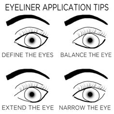 There's no right way to do your eyeliner — play around with it, because eyeliner sets the boundaries of your eyes. You can alter your natural eye shape with eyeliner. If your eyes are close-set, Eyeliner Hacks, Crayon Eyeliner, Eyeliner Styles, How To Apply Eyeliner, Winged Eyeliner, Applying Eyeliner, Brown Eyeliner, Eyeliner Ideas, Makeup Tricks